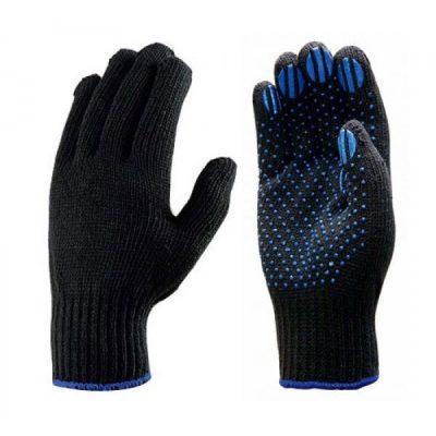 Хлопчатобумажные перчатки 6 НИТЕЙ с ПВХ покрытием (черные)