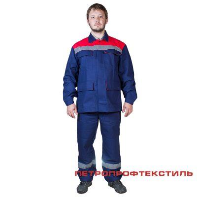 Костюм ПРОФИ САРЖА (красный, хлопок, куртка+полукомбинезон)